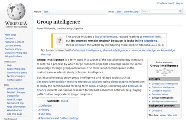 http://en.wikipedia.org/wiki/Group_intelligence