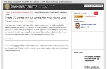 http://www.freewaregenius.com/create-3d-games-without-coding-with-kodu-game-labs/