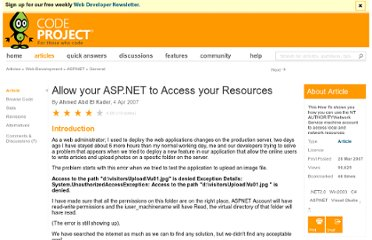 http://www.codeproject.com/Articles/18072/Allow-your-ASP-NET-to-Access-your-Resources