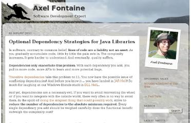 http://www.axelfontaine.com/2012/08/optional-dependency-strategies-for-java.html