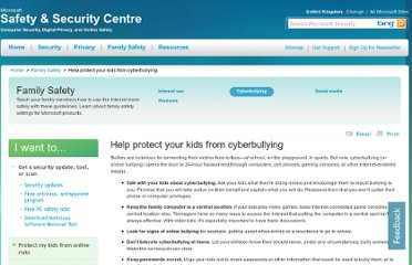http://www.microsoft.com/en-gb/security/family-safety/cyberbullying.aspx