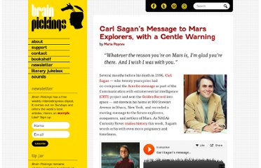 http://www.brainpickings.org/index.php/2012/08/08/carl-sagan-message-to-mars/