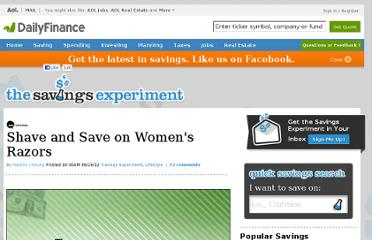 http://www.dailyfinance.com/2012/06/26/shave-and-save-on-womens-razors-savings-experiment/