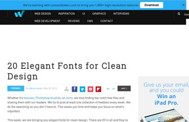 http://webdesignledger.com/freebies/20-elegant-fonts-for-clean-design