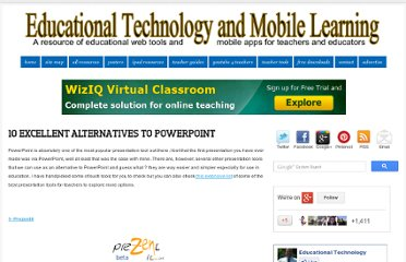 http://www.educatorstechnology.com/2012/08/10-excellent-alternatives-to-powerpoint.html