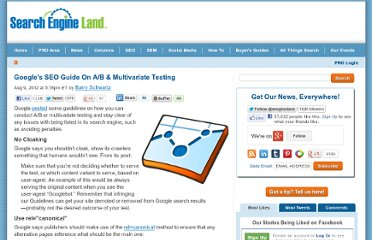 http://searchengineland.com/googles-seo-guide-on-ab-multivariate-testing-130093