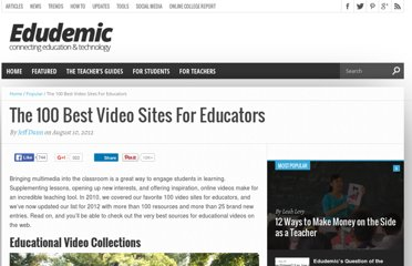 http://edudemic.com/2012/08/best-video-sites-for-teachers/