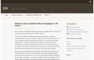 http://www.michaelnielsen.org/ddi/how-to-crawl-a-quarter-billion-webpages-in-40-hours/