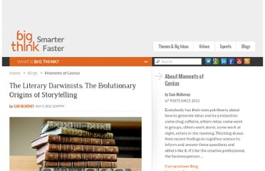 http://bigthink.com/insights-of-genius/the-literary-darwinists-the-evolutionary-origins-of-storytelling