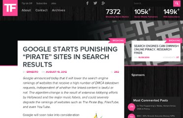 http://torrentfreak.com/google-starts-punishing-pirate-sites-in-search-results-120810/?amp;utm_medium=feed&utm_campaign=Feed%3A+Torrentfreak+%28Torrentfreak%29&utm_content=Google+Reader