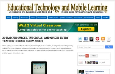 http://www.educatorstechnology.com/2012/08/29-ipad-resources-tutorials-and-guides.html