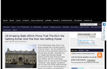 http://drleonardcoldwell.com/2011/12/02/29-amazing-stats-which-prove-that-the-rich-are-getting-richer-and-the-poor-are-getting-poorer/