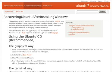 https://help.ubuntu.com/community/RecoveringUbuntuAfterInstallingWindows