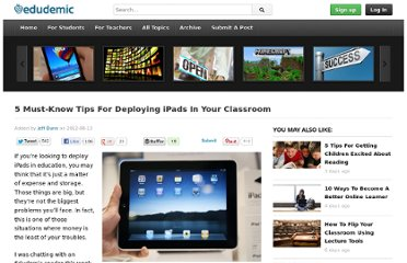 http://edudemic.com/2012/08/ipad-tips-classroom/