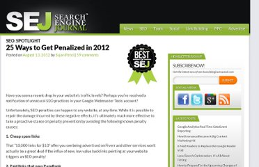 http://www.searchenginejournal.com/25-ways-to-get-penalized-in-2012/47245/