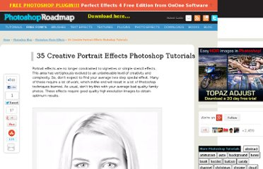 http://www.photoshoproadmap.com/Photoshop-blog/35-creative-portrait-effects-photoshop-tutorials/