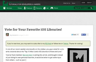 http://www.raywenderlich.com/19576/vote-for-your-favorite-ios-libraries