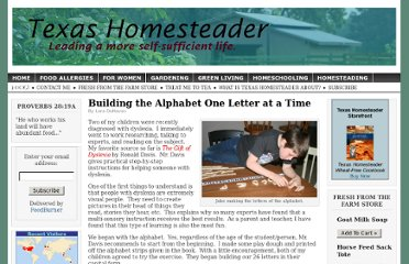 http://www.texashomesteader.com/2010/01/22/building-the-alphabet-one-letter-at-a-time/