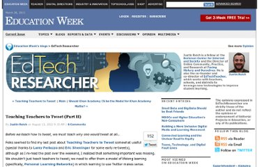 http://blogs.edweek.org/edweek/edtechresearcher/2012/08/teaching_teachers_to_tweet_part_ii.html