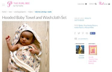 http://www.purlbee.com/hooded-towel-and-washcloth-set/