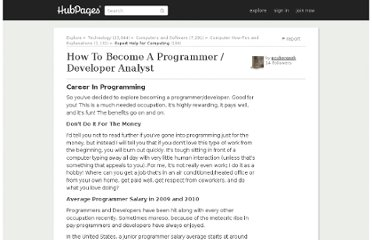 http://pcubergeek.hubpages.com/hub/How-To-Become-A-Programmer