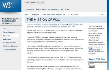 http://www.w3.org/QA/2010/06/the_mission_of_w3c.html