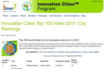 http://www.innovation-cities.com/innovation-cities-index-top-cities-for-innovation-2011/1649