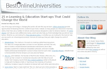 http://bestonlineuniversities.com/2010/25-e-learning-education-start-ups-that-could-change-the-world/