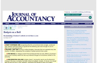 http://www.journalofaccountancy.com/Issues/2001/Dec/BudgetsOnARoll.htm