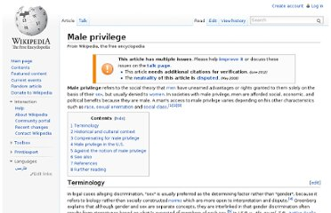 http://en.wikipedia.org/wiki/Male_privilege