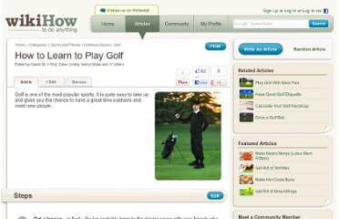 http://www.wikihow.com/Learn-to-Play-Golf