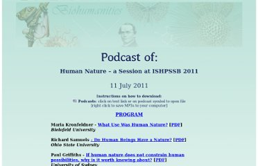 http://representinggenes.org/biohumanities/podcasts/humannature_podcast.html