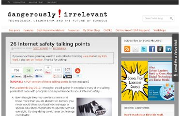 http://dangerouslyirrelevant.org/2012/08/26-internet-safety-talking-points.html