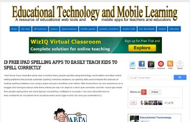 http://www.educatorstechnology.com/2012/08/13-free-ipad-spelling-apps-to-easily.html