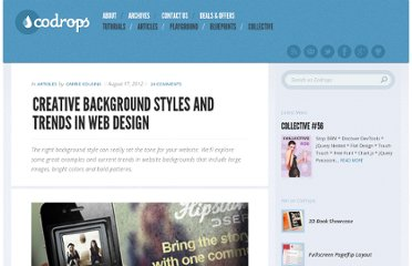 http://tympanus.net/codrops/2012/08/17/creative-background-styles-and-trends-in-web-design/