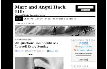 http://www.marcandangel.com/2008/07/24/20-questions-you-should-ask-yourself-every-sunday/