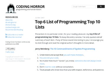 http://www.codinghorror.com/blog/2007/03/top-6-list-of-programming-top-10-lists.html
