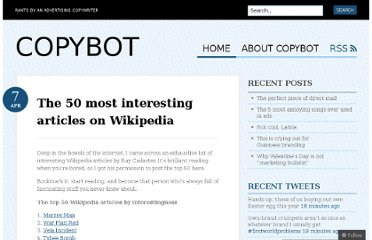 http://copybot.wordpress.com/2009/04/07/the-50-most-interesting-articles-on-wikipedia/