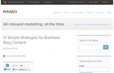 http://blog.hubspot.com/blog/tabid/6307/bid/6023/10-Simple-Strategies-for-Business-Blog-Content.aspx