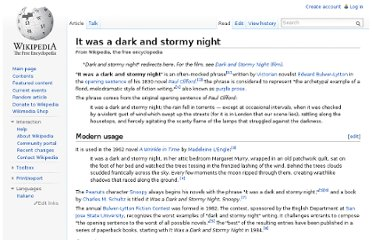 http://en.wikipedia.org/wiki/It_was_a_dark_and_stormy_night