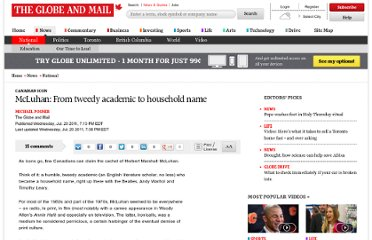 http://www.theglobeandmail.com/news/national/mcluhan-from-tweedy-academic-to-household-name/article587651/