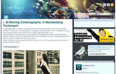 http://www.icanbecreative.com/30-moving-cinemagraphs-a-mesmerizing-technique.html#2