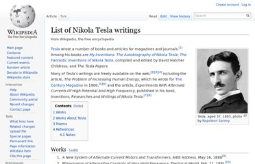 https://en.wikipedia.org/wiki/List_of_Nikola_Tesla_writings