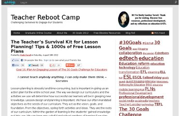 http://shellyterrell.com/2012/08/18/the-teachers-survival-kit-for-lesson-planning-tips-1000s-of-free-lesson-plans/