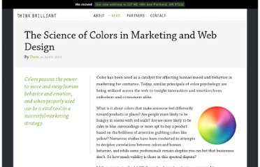 http://www.thinkbrilliant.com/2010/04/the-science-of-colors-in-marketing-and-web-design/