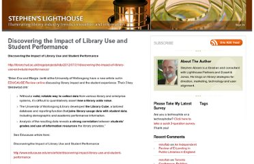 http://stephenslighthouse.com/2012/08/21/discovering-the-impact-of-library-use-and-student-performance/