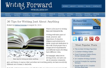 http://www.writingforward.com/writing-tips/tips-for-writing-just-about-anything