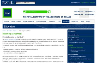 http://www.riai.ie/education/careers/becoming_an_architect/
