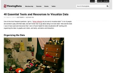 http://flowingdata.com/2008/10/20/40-essential-tools-and-resources-to-visualize-data/