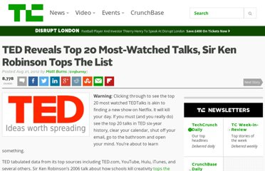 http://techcrunch.com/2012/08/21/ted-reveals-top-20-most-watched-talks-sir-ken-robinson-tops-the-list/